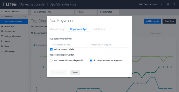 App Store Analytics' Rankings Page continues to add functionality with the new ability to bulk upload keywords for charting.