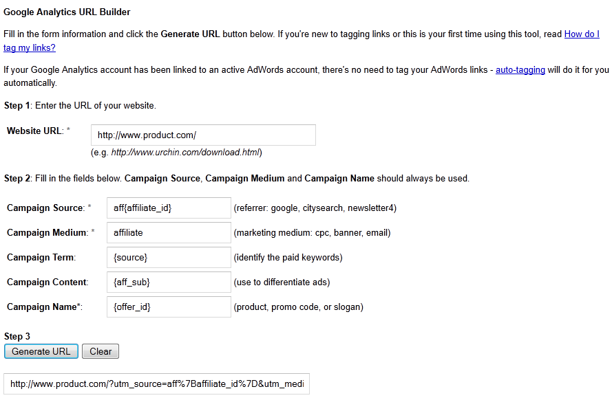 Google Analytics URL Builder