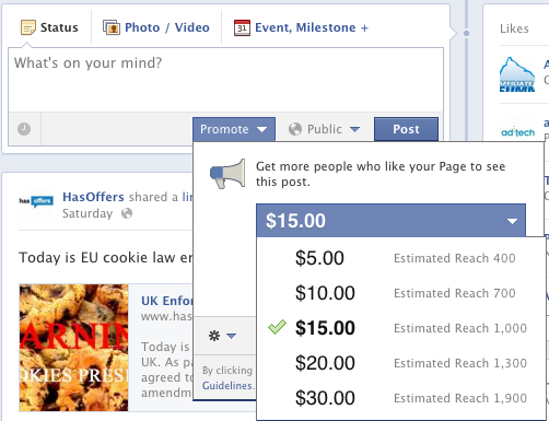 Facebook Promote Post used as Facebook Page
