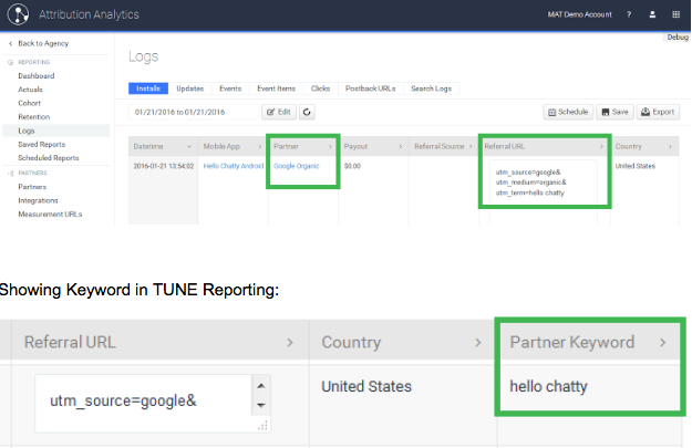 tune attribution analytics google app search