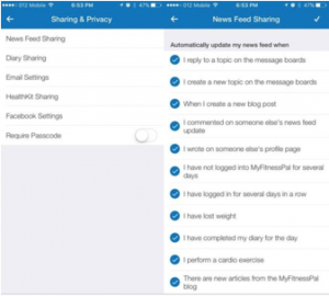 MyFitnessPal app offers users many privacy and sharing settings. They are very clear about how users can tailor their settings.