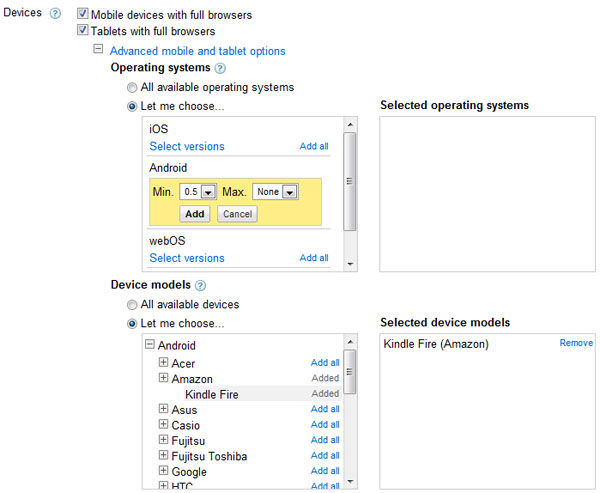 Mobile OS and Mobile Device Choices in AdWords