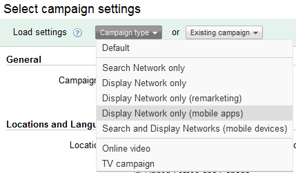 Display Network Only Mobile Apps
