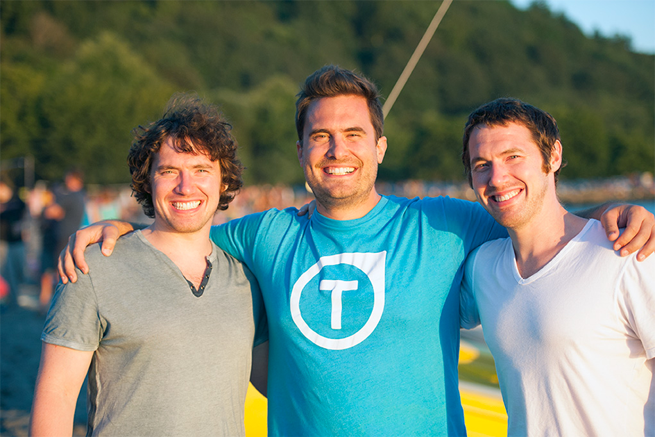 Lee, Peter, and Lucas of TUNE at the beach