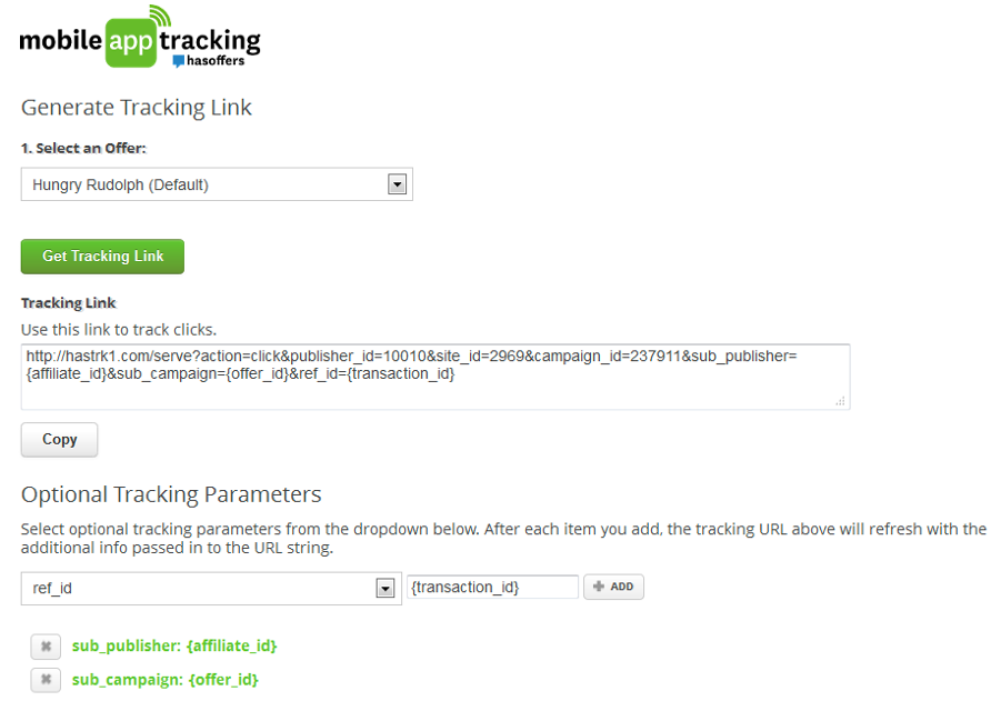tracking link mobile app tracking