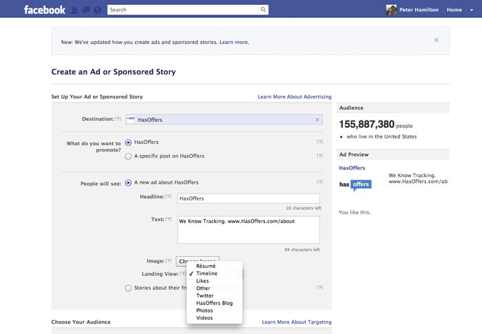 Facebook AdsCreator for HasOffers Page