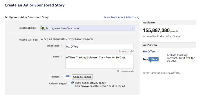 Facebook Adscreator External URL