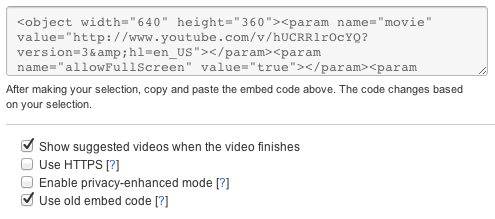 YouTube Use Old Embed Code